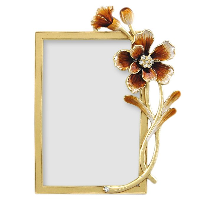 Autumn Flowers Frame, 4x6, Gold