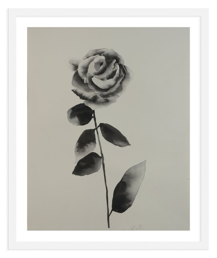 Black Ink Single Rose-DNU