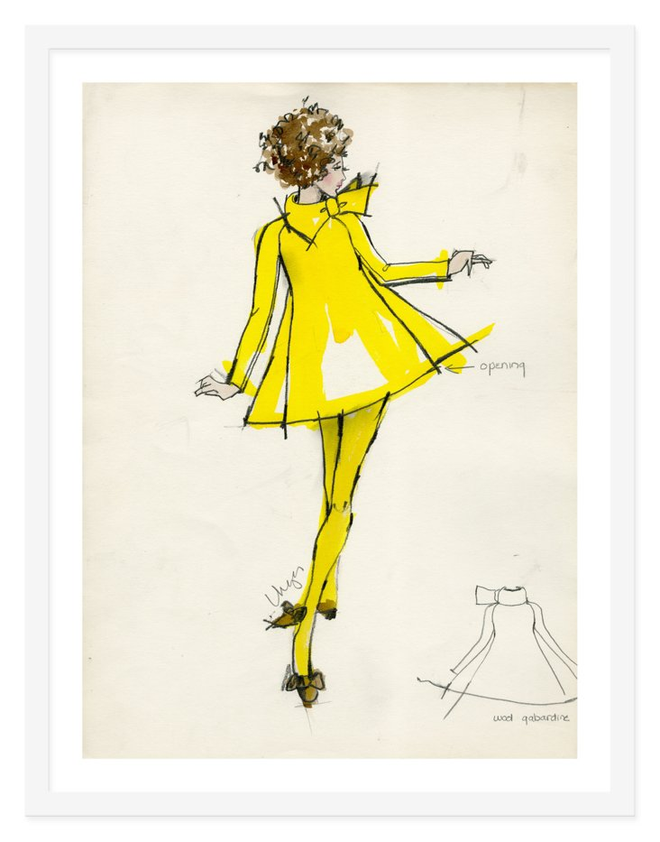 "Kay Unger, Lemon ""A"" Scarf Dress"