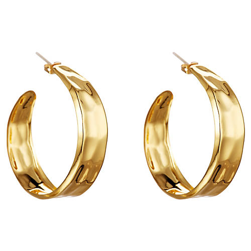 Wavy Dent Hoop Earrings, Gold