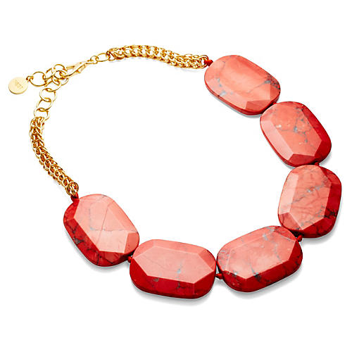 Coral Howlite Necklace
