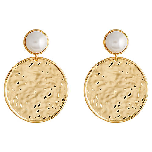 Mother-of-Pearl Drop Earrings, Gold/White
