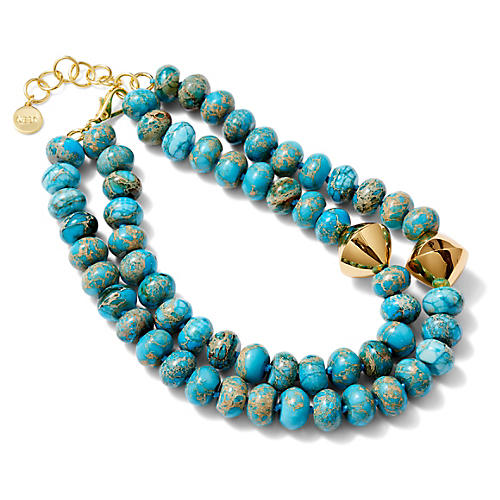 Bi-Cone Multistrand Necklace, Blue/Green