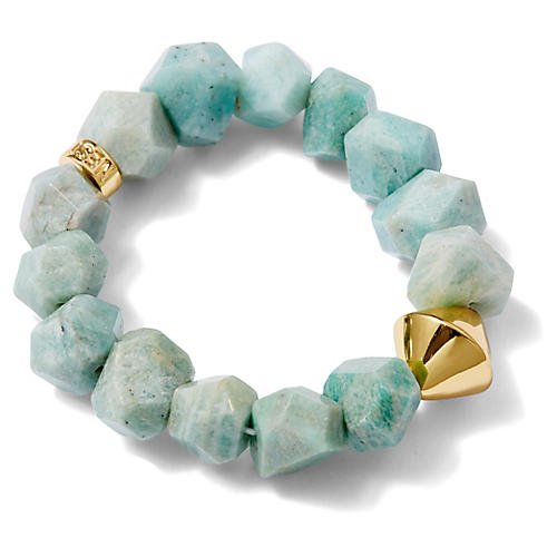 Amazonite Stretch Bracelet, Blue/Light Green