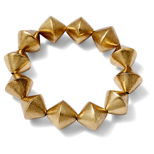 Brass Bi-Cone Stretch Bracelet, Gold