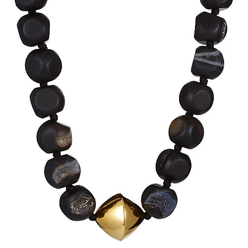 Black Agate Drusy Necklace