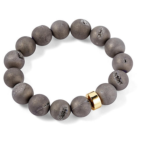 Gray Drusy Stretch Bracelet