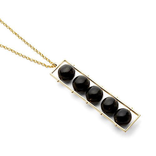 Dark Horn Abacus Necklace