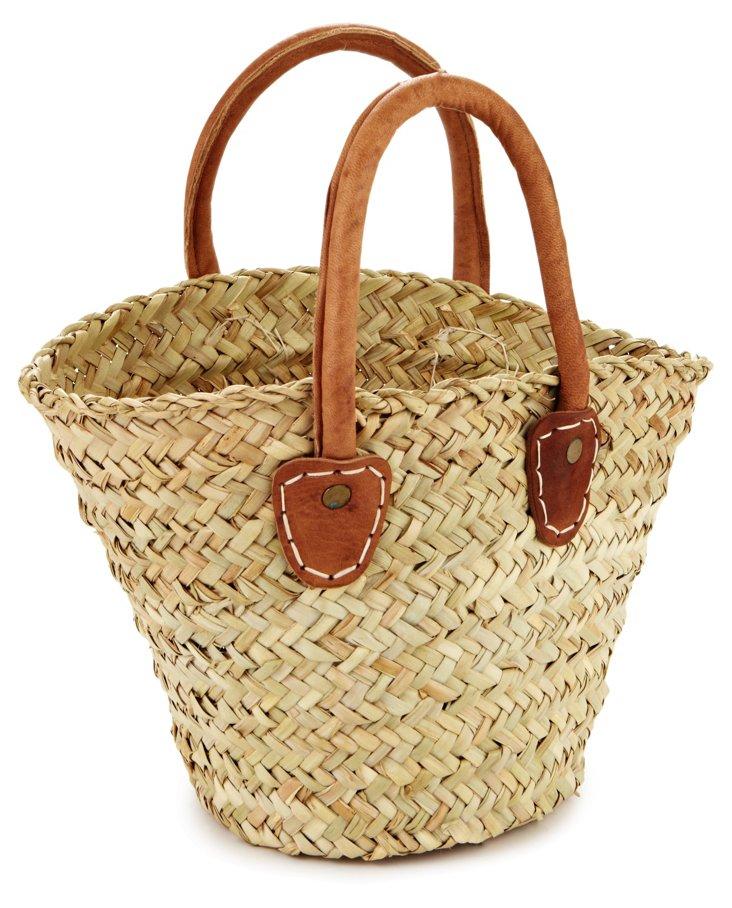 Rustic Basket w/ Leather Handles