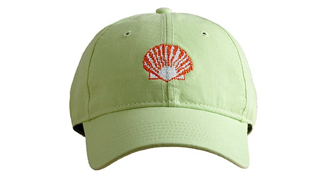 Scallop Needlepoint Hat, Lime