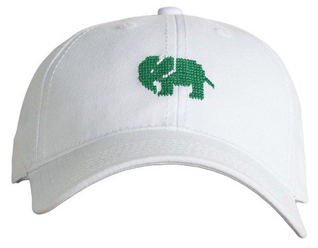 Elephant Needlepoint Hat, White
