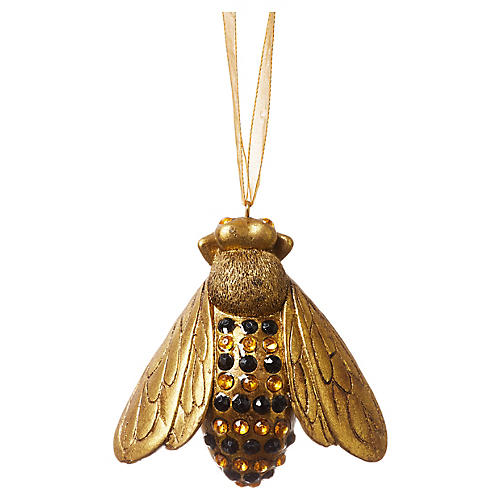 """3"""" French Bee Crystal Ornament, Gold"""