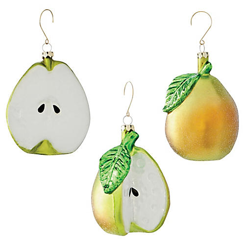 Asst. of 3 Glass Pear Ornaments, Green/White