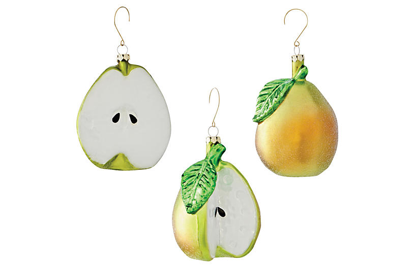 Asst. of 3 Glass Pear Ornaments - Green/White - Napa Home