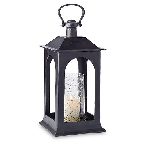 "21"" Atherton Short Porch Lantern, Black"