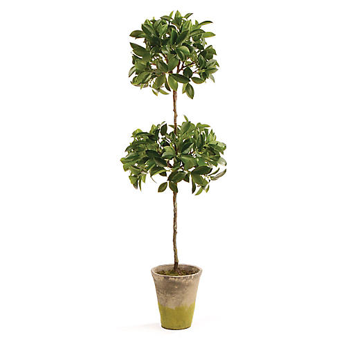 "31"" Double-Ficus Faux Topiary, Green/Cream"