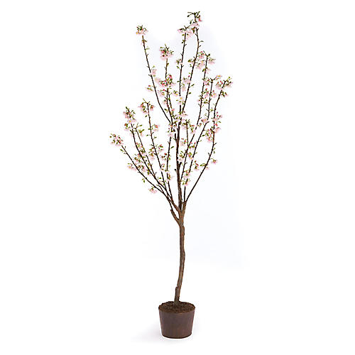 "87"" Cherry Blossom Faux Tree, Pink/Rust"