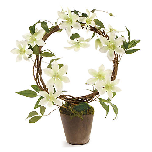 "22"" Clematis Faux Arrangement, White/Green"