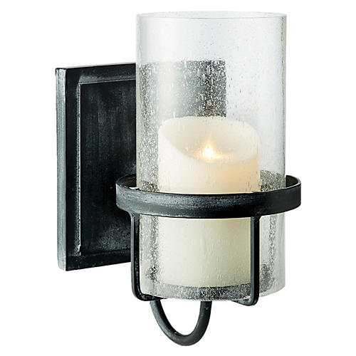 "12"" Liberty Wall-Mount Lantern, Black/Seeded"