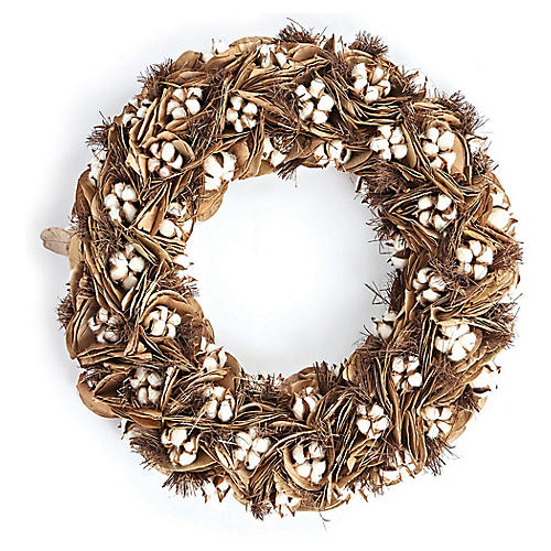 "24"" Southern Cotton Dried Wreath, White/Brown"