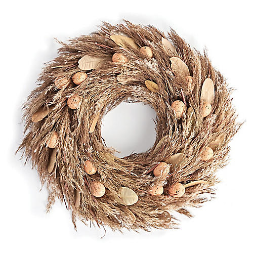 "24"" Hen House Dried Wreath, Light Brown"