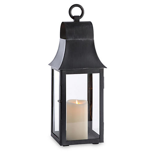 "22"" Geneva Outdoor Lantern, Washed Black"
