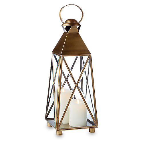 "26"" Newport Outdoor Lantern, Antiqued Brass"
