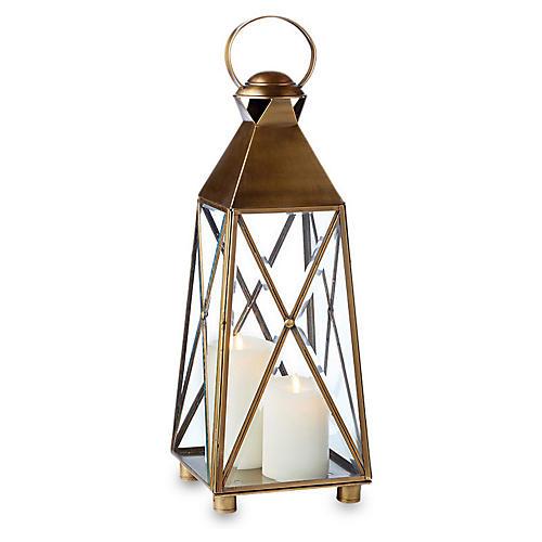 "26"" Newport Outdoor Lantern, Antiqued Brass"