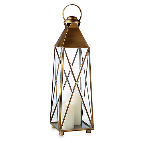 "34"" Newport Tall Outdoor Lantern, Antiqued Brass"