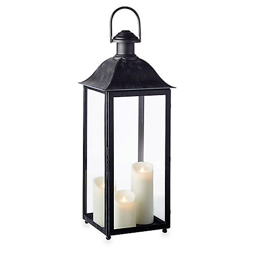 "30"" Coach House Tall Outdoor Lantern, Washed Black"