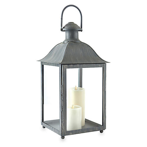 "23"" Coach House Outdoor Lantern, Washed Gray"