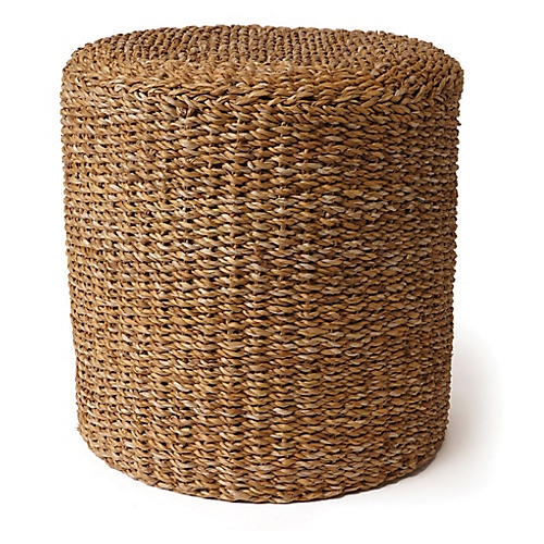 "17"" Seagrass Round Pouf, Natural"