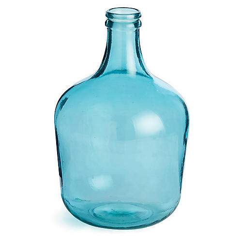 "16"" Parisian Decorative Bottle, Aqua"