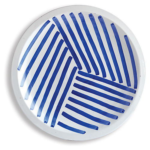 "17"" Rhythmic Decorative Plate, Blue/White"