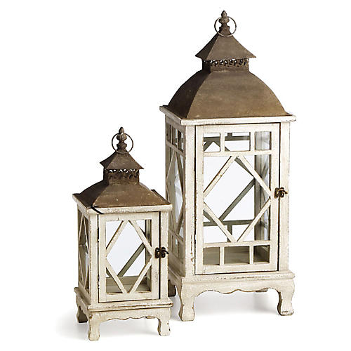 Asst. of 2 Chinoiserie Lanterns, Cream/Rust