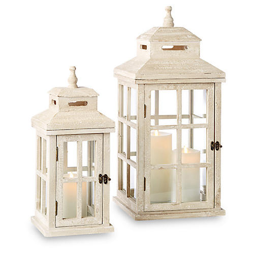 Asst. of 2 Pembrook Lanterns, Whitewash/Brass