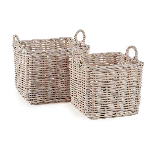 Asst. of 2 Normandy Square Baskets, Whitewash