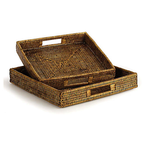 Asst. of 2 Burma Rattan Square Trays, Brown