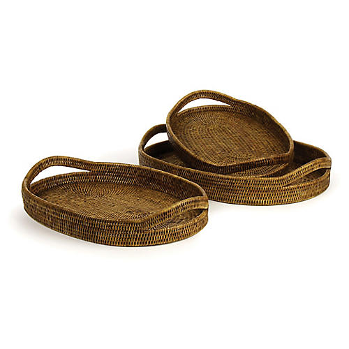 Asst. of 3 Burma Rattan Oval Trays, Brown