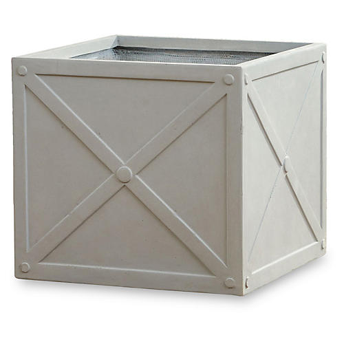 "22"" Cube Concrete Box Planter, Concrete"