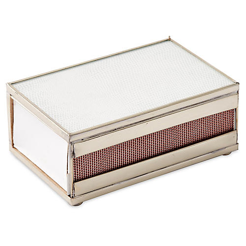 "5"" Lizard Matchbox, White/Nickel"