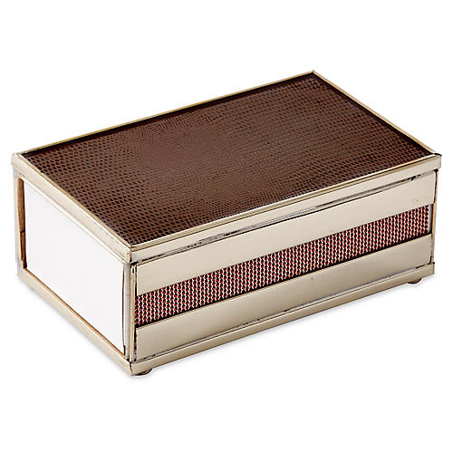 "5"" Lizard Matchbox, Brown/Nickel"