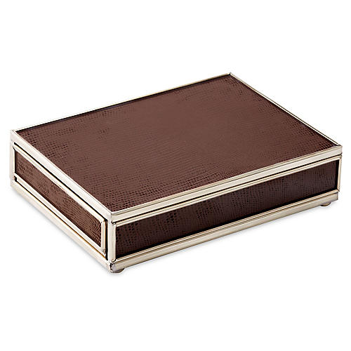 "6"" Lizard Playing Card Box, Brown/Nickel"