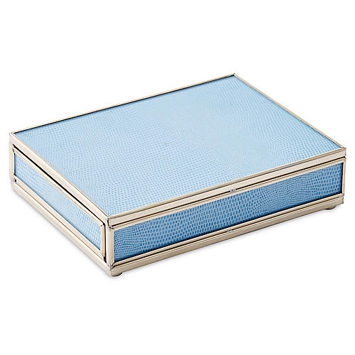 "6"" Lizard Playing Card Box, Blue/Nickel"
