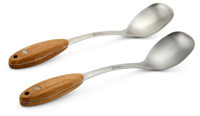 S/2 Cooking Spoons w/ Bamboo Handles