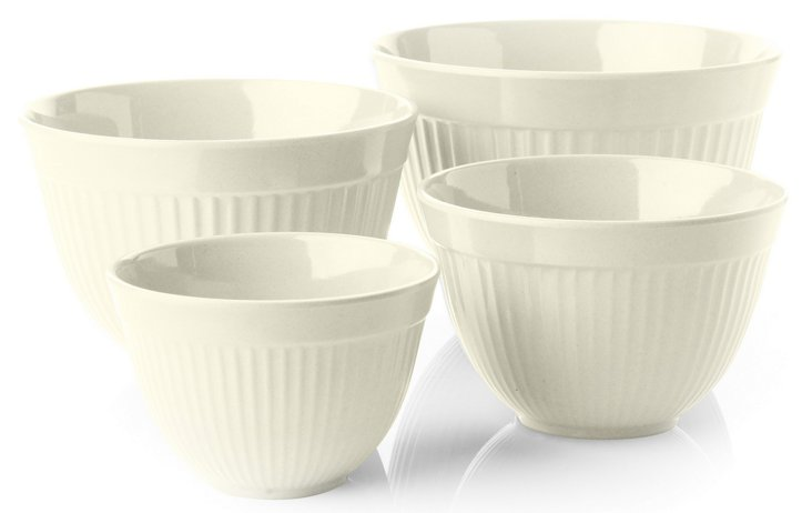S/4 Assorted Mixing Bowls, White