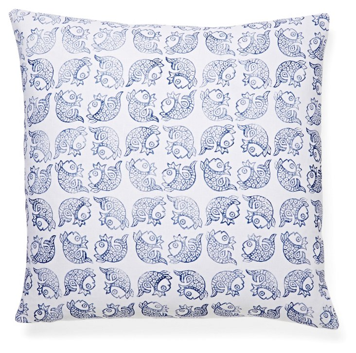 Matsya 20x20 Linen Pillow, Navy
