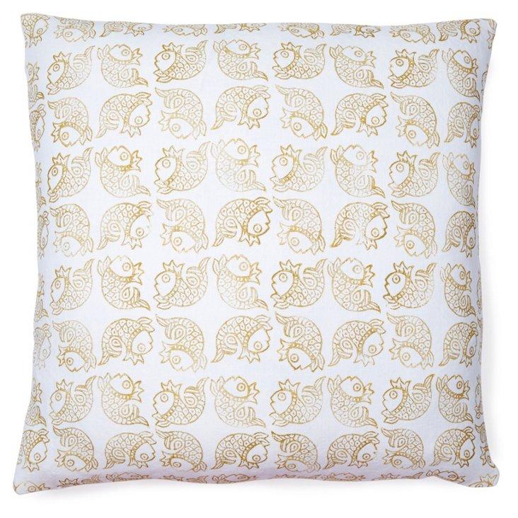 Matsya 20x20 Linen Pillow, Gold
