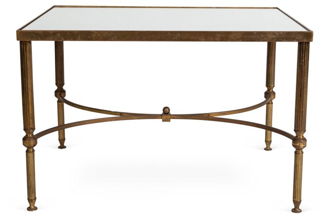 Mirror-Top Table w/ Fluted Legs