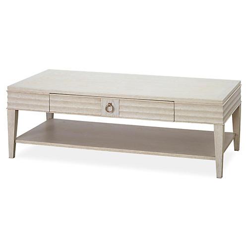 Madelyn 2-Shelf Table, Antiqued White